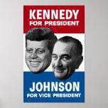 Poster 1960 de la elección de Kennedy y de Johnson