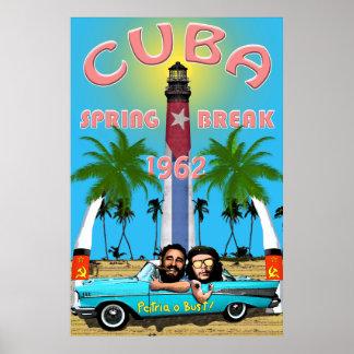 Poster 1962 de las vacaciones de primavera de Cuba Póster