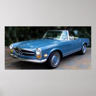 Poster 1964 del automóvil descubierto del Benz 230