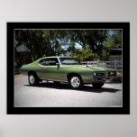 Poster 1969 del coche del músculo de Pontiac GTO