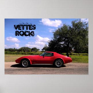 Poster 1975 de la pastinaca del Corvette de la roc