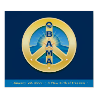Poster 1-20-09 de la paz de Obama Goldstar