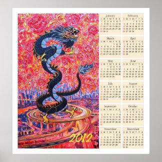 Poster 2012 del calendario de la flor del dragón