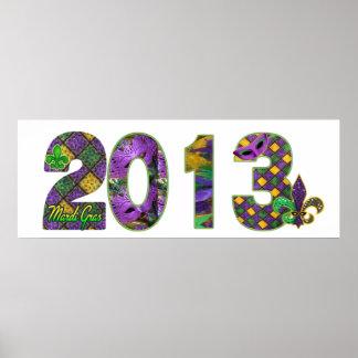 Poster 2013 de la bandera del carnaval New Orleans Póster