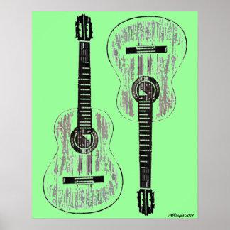 Poster 2013 (verde) del arte pop de las guitarras