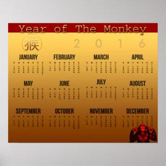 Poster 2016 del calendario del año del mono de la póster