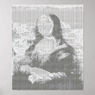 """Poster 28"""" del arte de Mona Lisa ASCII x 20"""""""