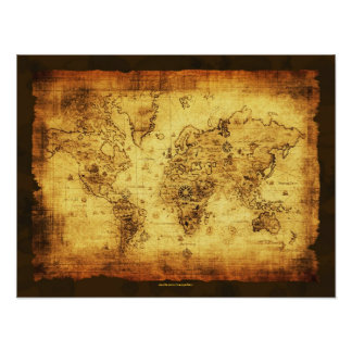 Poster 2 del mapa de Viejo Mundo del vintage de lo