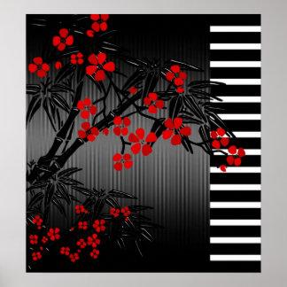 Poster 2 florales de bambú blancos negros rojos as
