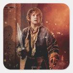 Poster 3 del carácter de Bilbo Pegatina Cuadradas