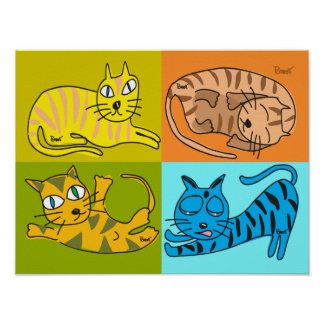 Poster 4 Cats Illustrations Collectible