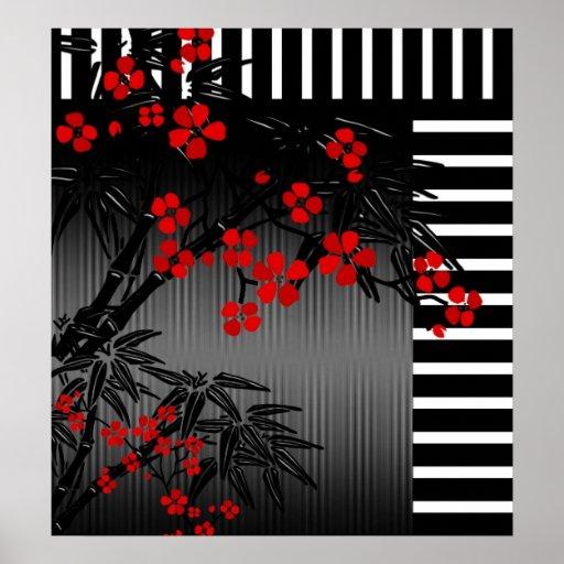 Poster 4 florales de bambú blancos negros rojos as