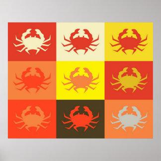 Poster 5 del cangrejo del arte pop