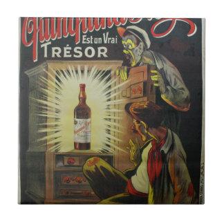 Poster a base de vino francés original de los azulejo cuadrado pequeño