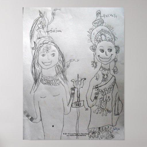 Poster A de Shiva y de Parvati