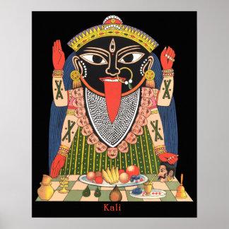Poster a todo color de la diosa hindú Kali
