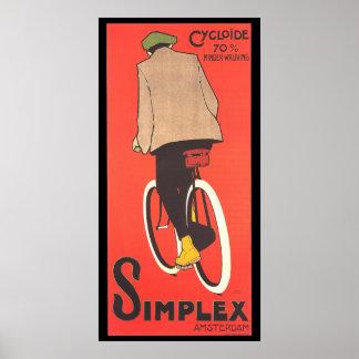 Poster a una cara de la publicidad de la bicicleta