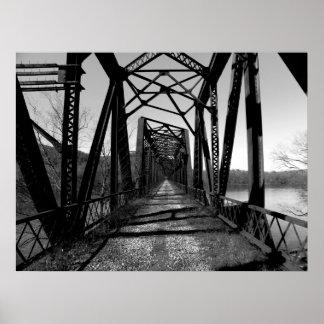 Poster abandonado del puente b w del RR