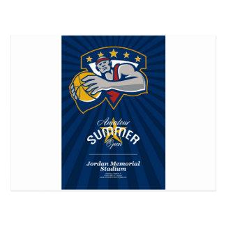 Poster abierto aficionado de la liga de baloncesto postal