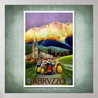 Poster Abruzos Italia del vintage del viaje