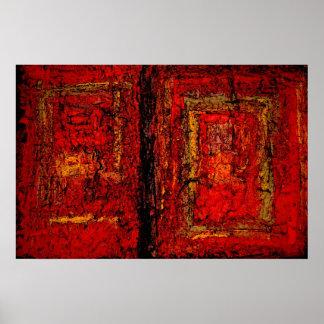Poster abstracto africano rojo de la impresión del