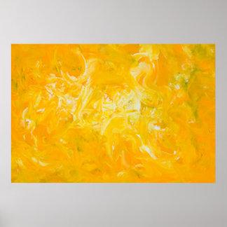 Poster abstracto amarillo de la bella arte