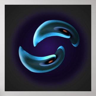 Poster abstracto azul de Yin Yang de la cala