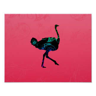 Poster abstracto de la avestruz
