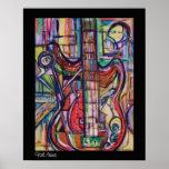Poster abstracto de la guitarra baja por ValAries