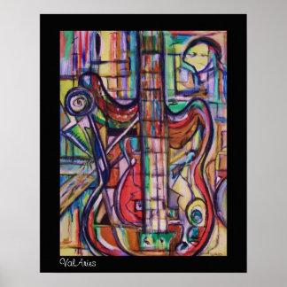Poster abstracto de la guitarra baja por ValAries Póster