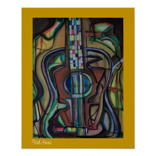 Poster abstracto de la guitarra por ValAries