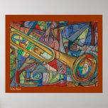 Poster abstracto de la trompeta por ValAries