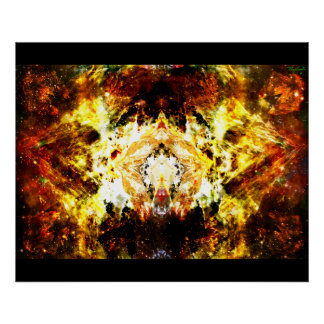 Poster abstracto de las montañas del espacio