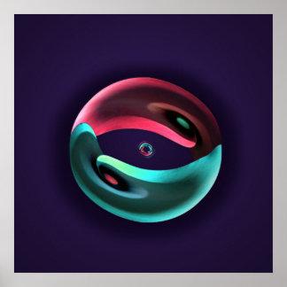Poster abstracto de neón de Yin Yang de la cala