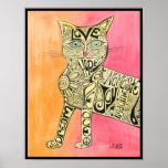 Poster abstracto del gato de la inspiración