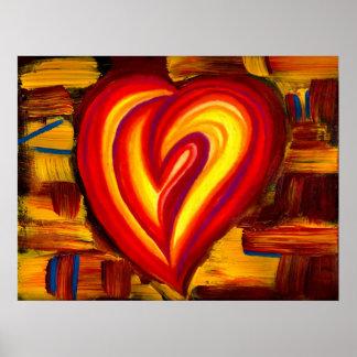 Poster abstracto del pastel del aceite del corazón