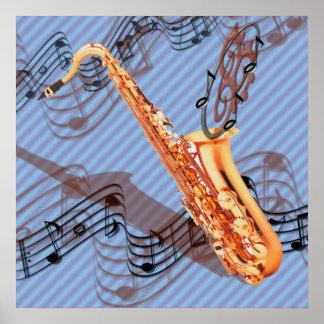 Poster abstracto del saxofón