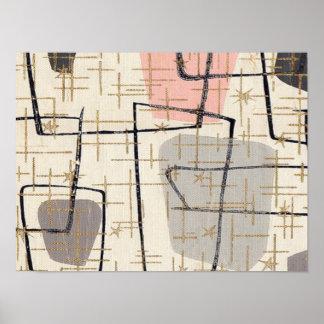 Poster abstracto moderno de los mediados de siglo