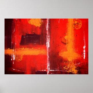 Poster abstracto rojo de la impresión de la pintur