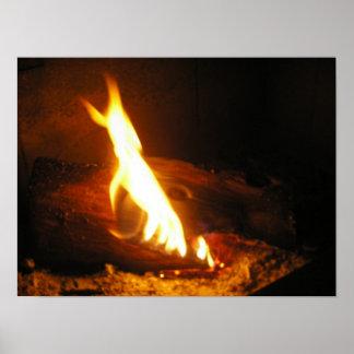 Poster acogedor del fuego