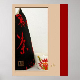 Poster acogedor japonés de té del estilo contempor