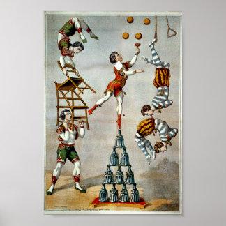 Poster acrobático del circo del vintage del acto