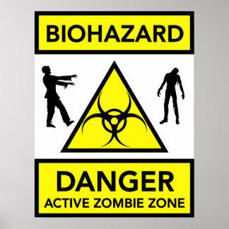 Poster activo de la zona del zombi del peligro del