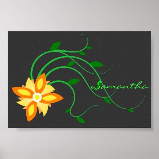 Poster adaptable anaranjado y amarillo de la flor