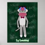 Poster adaptable del empollón del mono del calcetí