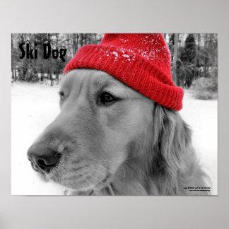 Poster adaptable del texto del perro del esquí