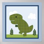 Poster adorable del arte de la pared del dinosauri