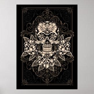 Poster adornado del cráneo del azúcar