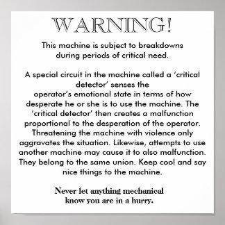 Poster - advertencia de la avería de la máquina