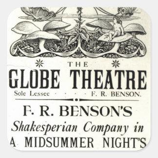 Poster advertising 'A Midsummer Night's Dream' Square Sticker